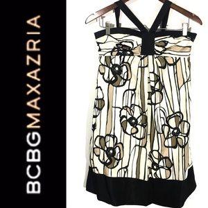 BCBGMAXAZRIA FLORAL Print SILK DRESS